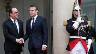 Mr Macron (centre) takes over from outgoing President François Hollande
