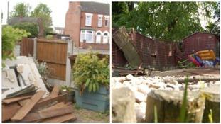 The freak storm damaged properties in Stapleford in Nottinghamshire.