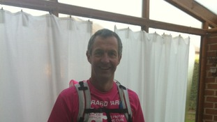 Gerard just before setting off from his home in Duffield to run 800 miles to Switzerland in three weeks.