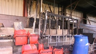 It is thought vandals broke into the ground yesterday and set fire to the main stand.