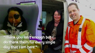 A woman who was involved in a serious crash has met the people who saved her life