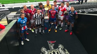 Rugby Super League players at the launch of this year's Magic Weekend at St James' Park