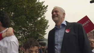 Jeremy Corbyn arrived in Leeds amid huge cheers