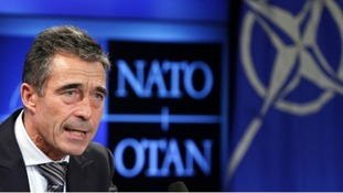 NATO Secretary General Rasmussen addresses a news conference in Brussels in November