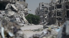 The scene of devastation in Homs.