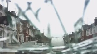 Frightening dashcam footage shows suspected thieves smashing in windscreen