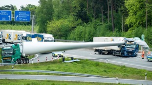 Giant wind turbine blade crushes lorry on German motorway after crash