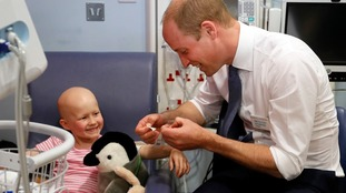 Six-year-old cancer patient jokes Prince William is 'too old to marry' when he visits her in hospital