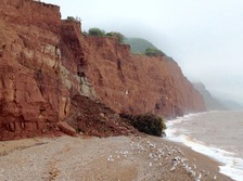 rock fall at Sidmouth beach