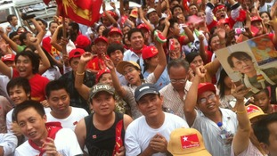 Supporters gather for presumed victory for NLD central Rangoon