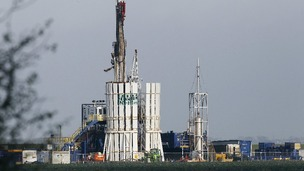 Anti-fracking protestors scale the rig at Banks, near Southport, on November 2, 2011