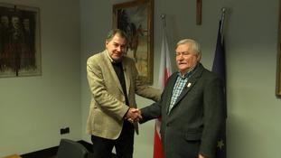 Tim Ewart with former Polish Prime Minister Lech Wałęsa.