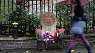 A memorial to Pc Fletcher in St James' Square.