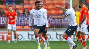 Isaac Vassell celebrates scoring against Blackpool on Sunday.