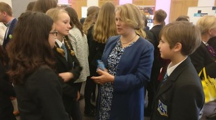 Politicians chatted to the children after the debate
