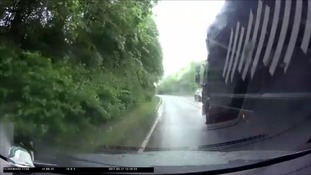 Learner driver's dramatic brush with over-taking lorry