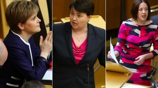 First Minister and leader of the SNP Nicola Sturgeon, Scottish Conservatives Leader Ruth Davidson and Scottish Labour Leader Kezia Dugdale