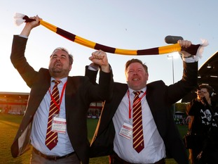 Bradford City co-owners Edin Rahic (left) and Stefan Rupp celebrate after their semi final win