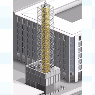 Architectural drawing of the London City Airport's digital tower