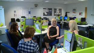 Coronation Street star Lucy Fallon has met volunteers from Childline in Salford.