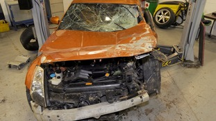 The Nissan 350Z car after the crash.