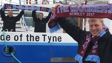 Crew members with their South Shields FC scarves ahead of the club's FA Vase final.