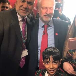 Hasnain Nawaz meets his idol, Jeremy Corbyn, and local councillor Ansar Ali.
