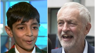 Boy, nine, questions Theresa May's 'strong and stable' mantra at Jeremy Corbyn speech
