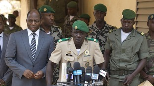 Coup leader Capt. Amadou Haya Sanogo, as he addresses the press at junta headquarters in Kati, outside Bamako