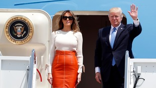 Donald Trump flew out with First Lady Melania at the start of their first foreign trip since entering the White House in January.