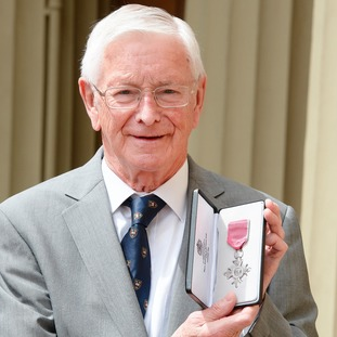 Alan Woodhouse after he was awarded an MBE by the Prince of Wales.