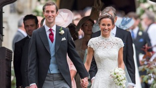Pippa Middleton and her husband James Matthews leave St Mark's church in Englefield, Berkshire, following their wedding.