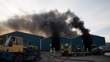 Smoke seen for miles as firefighters tackle blaze at Chatham dockyard