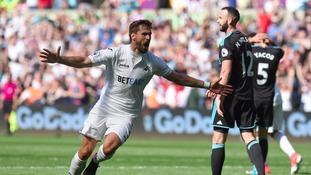 Swansea secure victory in final game of the Premier League season