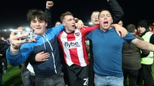 Jack Stacey celebrates with fans