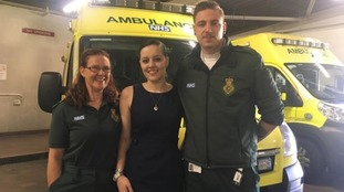 Ms Foster, centre, with Community Paramedic Maz Alsbury, left, and driver Daniel Curd.