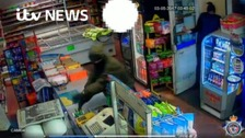 Raiders were caught on CCTV taking a till from a store Stockton