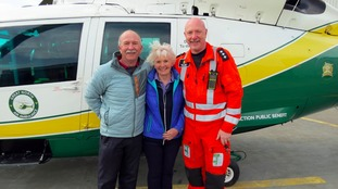Heart attack survivor praises air ambulance