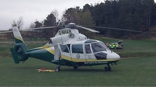 The ambulance helicopter the day of Derek's heart attack