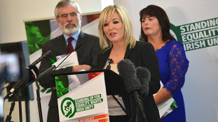 Michelle O'Neill launches the party's election manifesto.