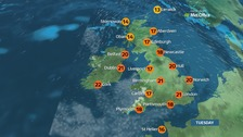 Largely dry with warm sunny spells for many