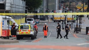 The police presence outside Manchester Arena.