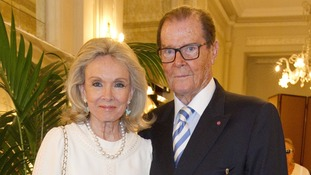 Sir Roger, seen with his wife Kristina Tholstrup, made his last stage appearance in his home city of London in 2016.