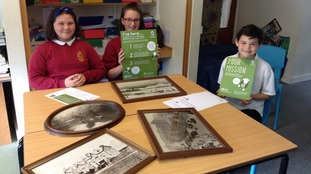 Students from St Herbert's primary school with their World Heritage schools pack
