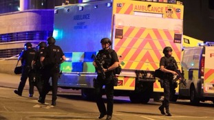 Armed police at the scene of the attack on Monday night.