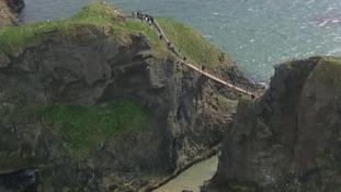 The rope bridge was vandalised overnight.