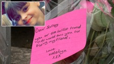 A tribute left to Saffie Rose Roussos (inset).