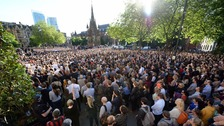A vigil was held for the attack victims in Manchester on Tuesday.