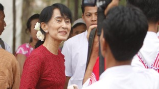 Suu Kyi at a polling station in the village of Wah Thin Kha today.