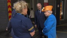 The Queen arrives at the hospital.